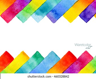 Background with hand drawn rainbow watercolor rectangular elements. Isolated on white background.