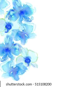 Background with hand drawn watercolor flowers. The asymmetrical element. Blue orchids.It will be use for  design invitation card and wedding card. Mother`s day