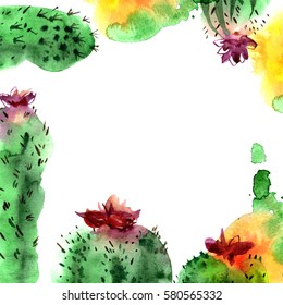 Background with hand painted watercolor blossoming cactuses. .