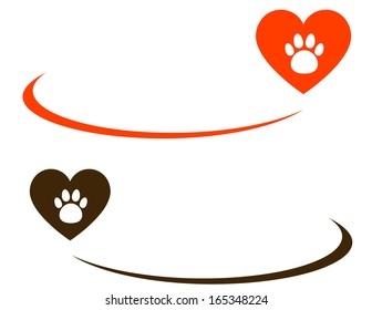 background with heart, paw and blank place for text