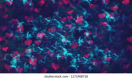 Background Hearts With Network Overlay. Love in Digital Age Concept.