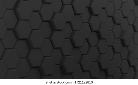 Background hexagons black dark gray geometry 3D illustration