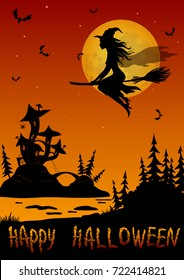 Background for Holiday Halloween Design, Cartoon Ghosts, Witch, Scarecrows and Bats Against the Moon and Tree, Silhouettes.