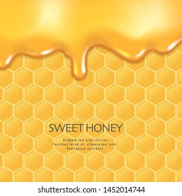 Background with honeycombs and honey. Graphic concept for your design, 3d Illustration