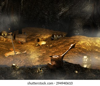 A background illustration of a cave filled with gold treasure.