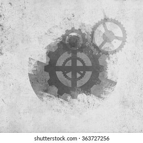Background  illustration of  faded gears old paper. Steampunk machinery on Parchment. Drawing technical grunge texture
