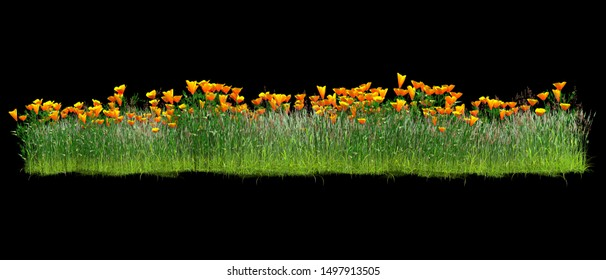 Background illustration of green field of grass with flowers. 3D rendering. Useful for commercial banners and print - Illustration