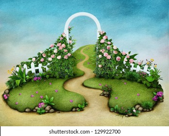 Background or illustration green meadow with roses and footpath