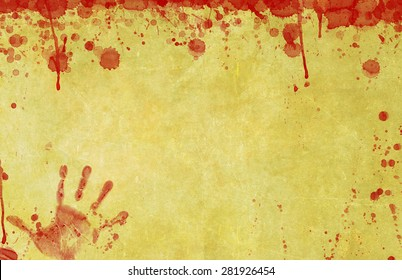 Background illustration of old, blood splattered paper or parchment surface with bloody hand print illustration.