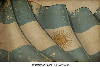 Background illustration of an old paper with a print of a waving Flag of Argentinian