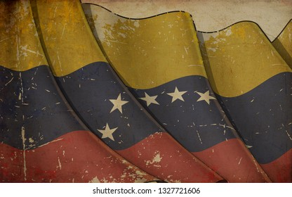 Background illustration of an old paper with a print of a waving Flag of Venezuela