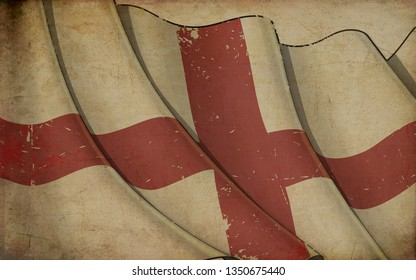 Background illustration of an old paper with a print of a waving Flag of England