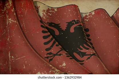 Background illustration of an old paper with a print of a waving Flag of Albania