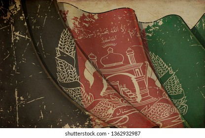 Background illustration of an old paper with a print of a waving Flag of Afghanistan