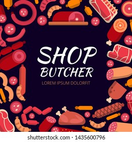 Background illustrations for butcher shop. Various pictures of meat. butchery market and store with meat food product illustration