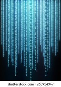Background image of binary codes in vertical layout.