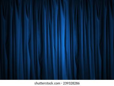Background image of blue velvet stage curtain
