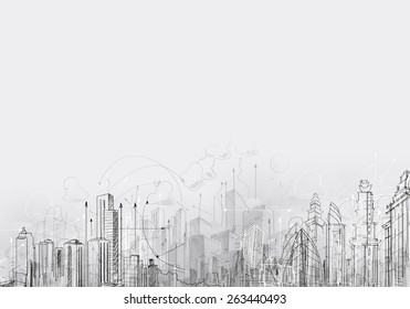 Background image with business sketches and strategy concepts