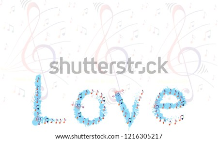 background image containing musical notes wording stock illustration