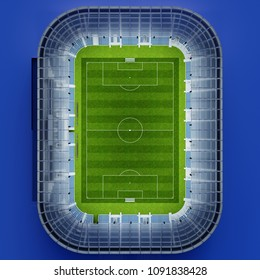Background image of a football and soccer stadium in top view with architecture and playing field visible (3D Rendering)
