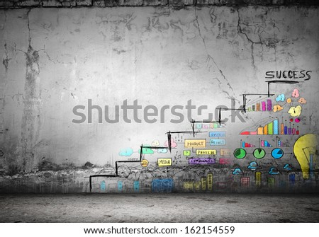 Background image of ladder of success drawn on wall