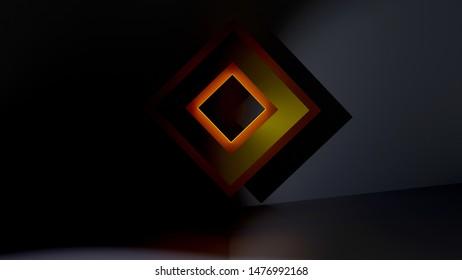 Background image. Lozenge. Rhombus. Frame. Icon. Rendered. 3D. Dark. Lights. Shadows. Black. High Saturation. Steele.