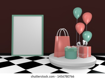 Background image with presents, balloons and a card for text. 3d rendering