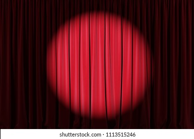 Background image of red velvet stage curtain with spotlight. 3d illustration
