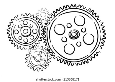 Background image with sketched gears on white backdrop