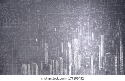 Background image with urban construction sketch on dark background