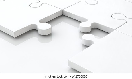 The background image is white, the metal elements of the puzzle and the missing link, the part on white background metal. Abstraction, a symbol of mystery, question, problem. 3D rendering