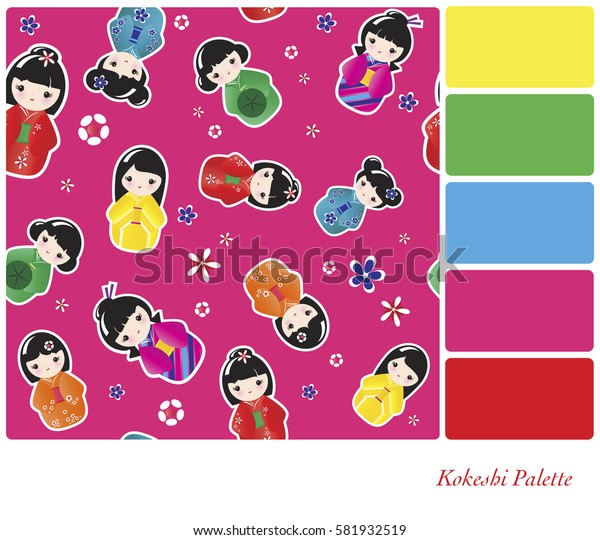 A background of Japanese Kokeshi dolls. In a colour palette with complimentary colour swatches.