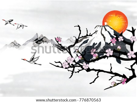 Background japanese korean greeting cards stylized stock background for japanese korean greeting cards with stylized mountains and flying crane birds m4hsunfo