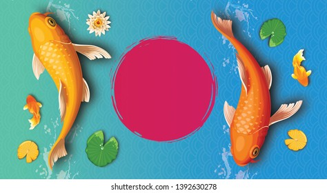 Background of koi fish and empty red circle floor