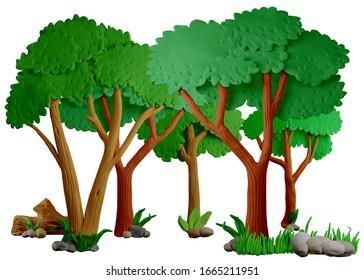 Paisaje forestal de fondo. Naturaleza silvestre, taiga. Fabricado a mano con plasticina o arcilla. Aislado sobre fondo blanco - Ilustración 3D