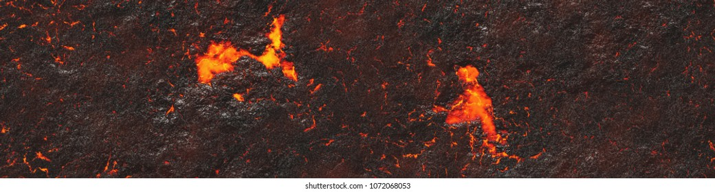 Background lava. Burning coals- crack surface. Abstract nature pattern- glow faded flame. Danger terrain- illustration volcanic.