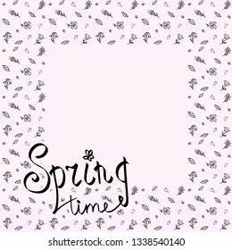 """Background with lettering """"Spring time"""". Text. For print. Scrapbook paper."""