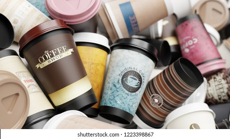Background from many different waste coffee cups to go (3D Rendering)