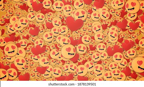 Background of many lovestruck emojis and red hearts. Social media and communications concept wallpaper.