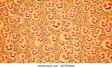 Background of many lovestruck emojis. Social media and communications concept wallpaper.