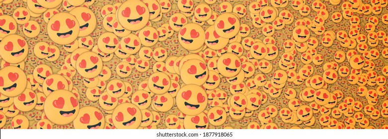 Background of many lovestruck emojis. Social media and communications concept wallpaper banner.