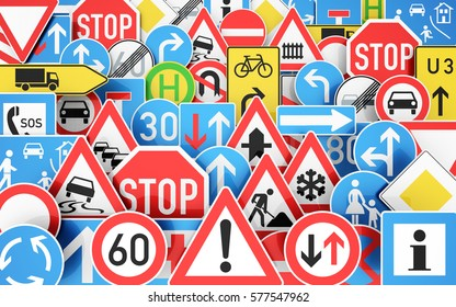 Background with many traffic signs 3D rendering