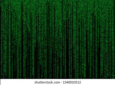 Background in a matrix style. Falling random numbers. Green is dominant color. Computer virus and hacker screen wallpaper.