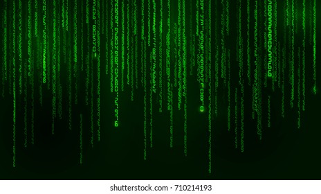 Background in a matrix style. Falling random numbers. Green is dominant color. Illustration
