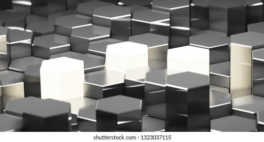 Background of metal hexagonal blocks with bright key elements. 3D illustration.