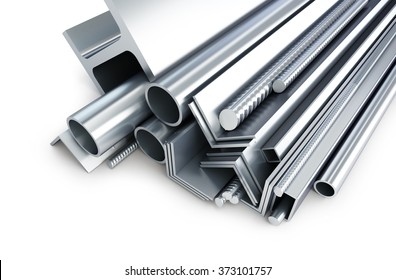 background metallic pipes, corners, types 3d Illustrations on a white background