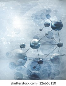 Background with molecules blue, old-style bitmap copy
