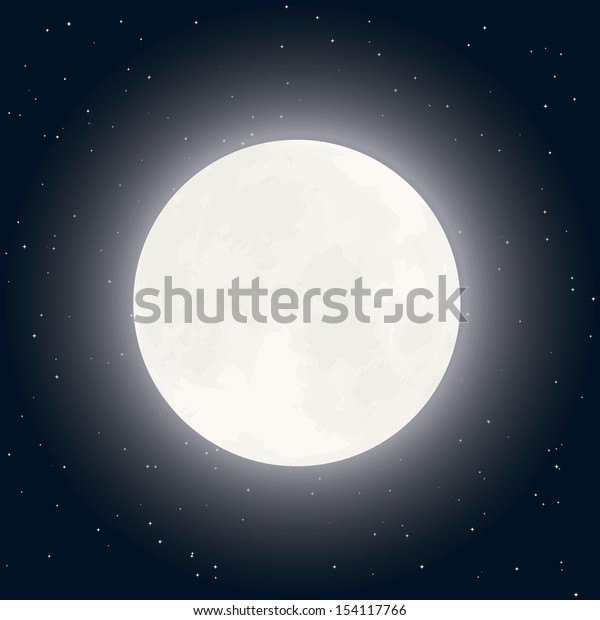 Background with moon and stars in clear night sky