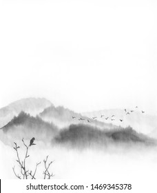 Background with mountains. Ink mountain landscape. Mountains in the fog. Trees on the mountain. Ink image. Pine trees