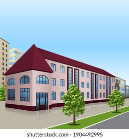 a background with multi-storey buildings and roads illustration 3d